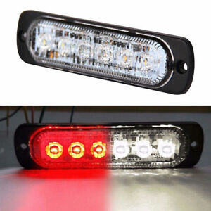 6 Led Light Bar Flash Emergency Car Vehicle Warning Strobe Flashing Red