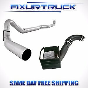 Mbrp 4 Exhaust For 01 04 Duramax 6 6l W S b Cold Air Intake Kit Oiled