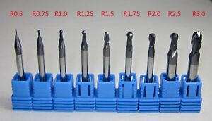 9pcs R0 5 R3 0 Hrc45 Carbide Ball Nose End Mills Set Cnc Machine For Steel