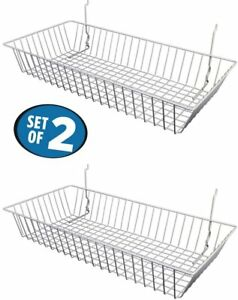 White Wire Baskets For Slatwall Gridwall Or Pegboard set Of 2 24 lx12 dx4 h