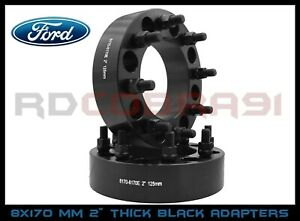 2 Pc 8x170 2 Black Wheel Spacers Adapters For Heavy Duty F250 F350 Super Duty