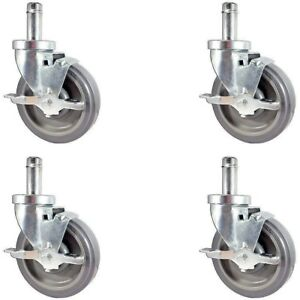 Casterhq new 5 Caster Set For Metro Wire Shelving Set Of 4 Casters Included