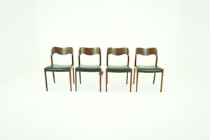 Danish Mid Century Modern 4 Rosewood Dining Chairs By Niels Moller Model 71