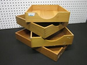 Lot 4 Vintage Wood Desk Organizer Tray Dovetail Wood Office In Out Box Letter