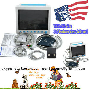 Us Stock Fda Veterinary Icu 6 parameter Vital Sign Patient Monitor Nibp Spo2 Ecg