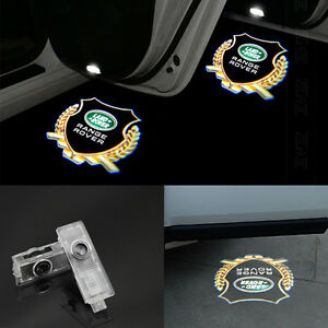 2x Led Logo Door Lamp Ghost Shadow Laser Projector Welcome Light For Land Rover