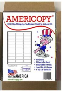 30up 2 625 x1 Shipping address Labels 30 sheet 100 Sheets pack 3 000 Labels
