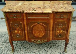 Antique 19th C French Bronze Marble Top Louis Xv Commode Chest Dresser Server