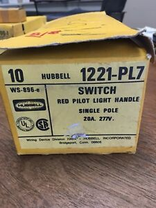 Nos Hubbell Hbl1221pl7 20a Red Pilot Light Switch Qty 9