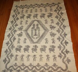 Vintage Wool Coverlet Blanket Bedspread Rabbit Bird People Man Fringe
