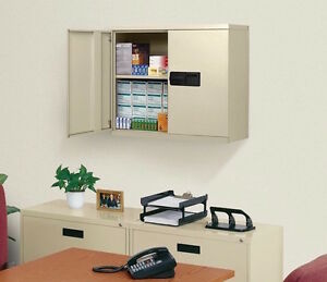 Metal Wall Cabinet Storage Organizer Beige Steel Hanging Electronic Keyless Shop