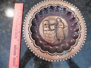 Ricordo Del Molise Repousse Hammered Copper Wall Hanging Vintage 7 1 2 Dish