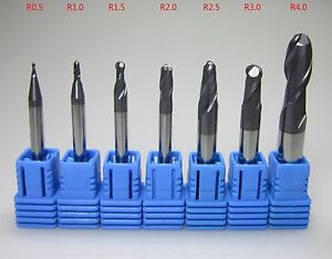 R0 5 R3 0 R4 0 Hrc45 Tungsten Carbide Ball Nose End Mills Set For Mold Steel