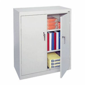 Counter Height Cabinet Storage Metal Locking 36 Wide 42 Tall 18 Deep White