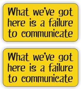 Funny FAILURE TO COMMUNICATE Hard Hat Stickers / Helmet Safety Decals Labels (2)