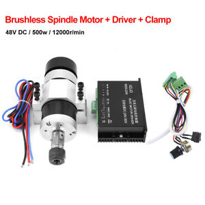 Er16 Dc48v 500w High Speed Air Cooling Brushless Spindle Motor Driver Clamp Am