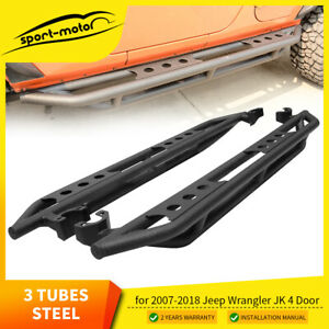 For 2007 2018 Jeep Wrangler Jk Unlimited 4 Door Side Steps Nerf Bars Guards