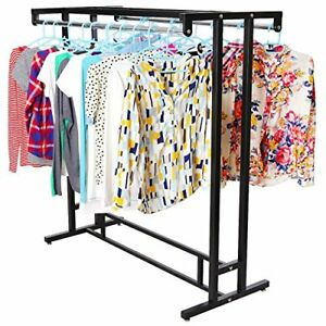Stainless Steel Double Rod Hanger Rail Department Store Garment Rack Clothes Usa