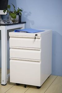 3 Drawer Mobile File Cabinet With Keys And Lock Fully Assembled Wheels Us
