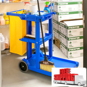 Lavex Janitorial Cleaning Cart Janitor Cart With 3 Shelves And Vinyl Bag Nib