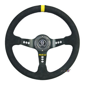 350mm Sc 3 Spoke Suede Black Leather Deep Dish Racing Steering Wheel W Horn
