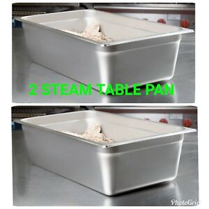 2 Full Size 6 Deep Nsf 21 Quart Silver Stainless Steel Hotel Steam Table Pan