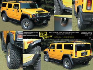 03 10 Hummer H2 Off Road Style Black Fender Flares E G Classics 5308 2400 03w