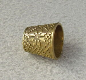 Solid Brass Sewing Thumb Thimble Protection Ukrainian Embroidery Design Size 1