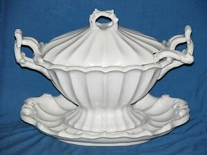 Vintage Red Cliff Heavy Ironstone Four Piece Tureen