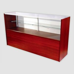 Retail Glass Display Case Half Vision Walnut 6 Showcase W led Light