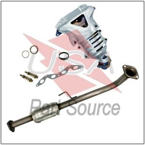 Exhaust Manifold W Front Rear Catalytic Converters For 01 05 Honda Civic 1 7l