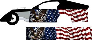 American Flag Ripped Eagle Shred Go Kart Race Car Golf Vinyl Graphic Decal Wrap