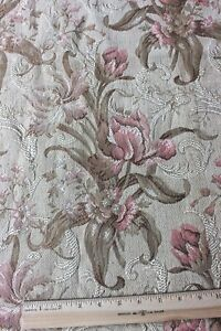 French Antique Jacquard Pink Art Nouveau Floral Woven Tapestry Fabric C1900
