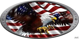 American Flag Flying Eagle Oval Decal Hood Camper Rv Motor Home Mural Graphic
