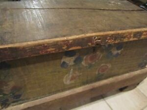 Primitive Antique Wood Tool Box Chest Hand Painted Folk Art Old Orig New Pics