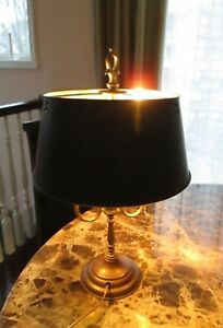 Antique Brass Black Painted Metal Bouillotte Lamp Shade French Trumpet