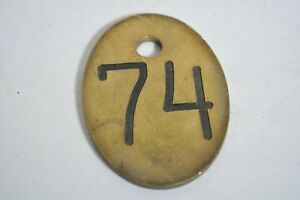 Antique Cow Brass Number Tag Farm Primitive Retro Industrial Craft 74