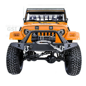 Rock Crawler X cutout Front Bumper winch Plate 2x Led For 97 06 Jeep Wrangler Tj