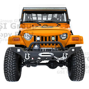 Rock Crawler Full hd Front Bumper winch Plate 2x Led For 97 06 Jeep Wrangler Tj