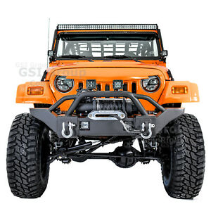 Rock Crawler Kg Hd Front Bumper Winch Plate Led Mount For 97 06 Jeep Wrangler Tj
