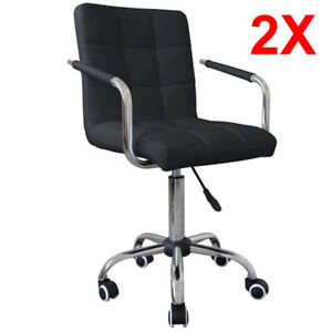 2pcs Modern Office Leather Chair Swivel Executive Computer Desk Bar Black