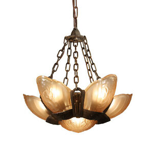 Art Deco Slip Shade Chandelier By Lincoln Antique Lighting Nc2906