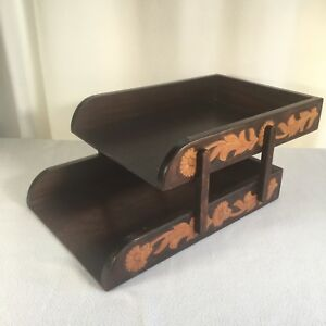 Vintage Western Desk File Trays 15 x 11 x 5 Hand Made Movable Wooden Carved