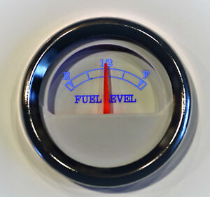 Fuel Level Gauge 52mm White W Chrome Bezel 10 180 Ohms Blue Led