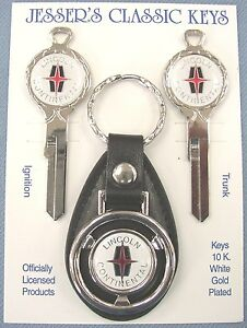 White Lincoln Continental White Gold Deluxe Classic Key Set 1958 1959 1960