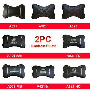 2pc Universal Car Seat Head Neck Rest Pillow Auto Headrest Travel Pillow