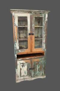 Original Antique Painted American Farm House Cabinet Stepback Cupboard
