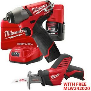 New Milwaukee M12 Fuel 1 4 Impact Wrench Kit With Free M12 Hackzall Saw