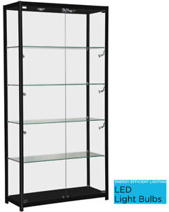 Only Hangers Black Aluminum Framed Showcase Display Case Led Light