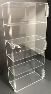 Acrylic Counter Top Display Case 12 x 4 5 X23 5 locking Cabinet Showcase Boxes